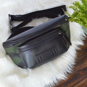 NWT Authentic Coach Leather/Camo Terrain Belt Bag